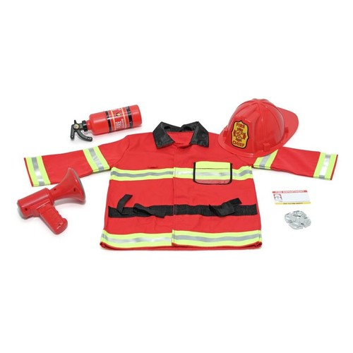 Melissa & Doug Six Pc Fire Chief Role Play Costume Set with Bullhorn