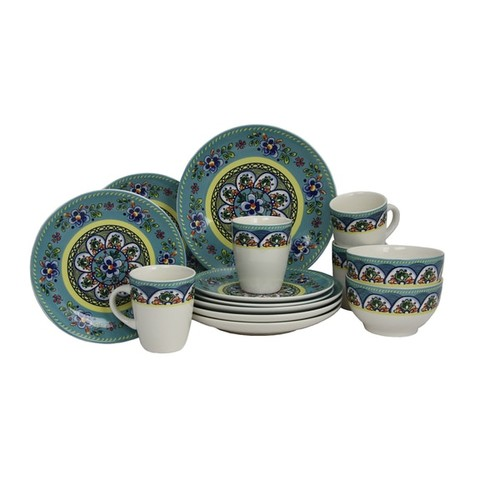 Elama Santa Fe Springs Multicolored Stoneware 16-piece Dinnerware Set