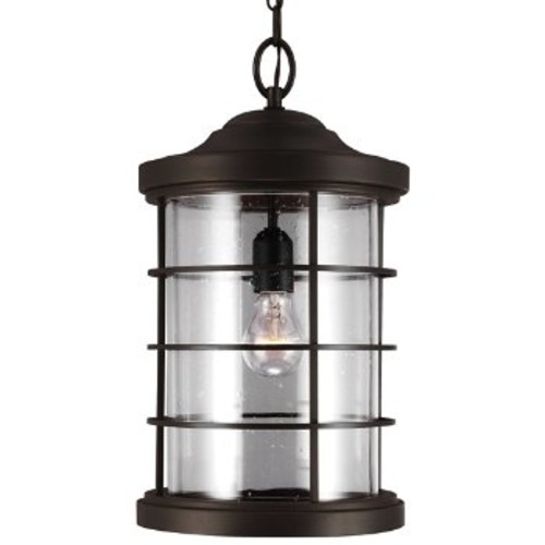 Sauganash Outdoor Pendant with Clear Seeded Glass [Light Option : Incandescent; Finish : Antique Bronze]