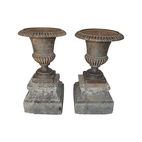 Cast Iron Urns on Stone Bases, Pair