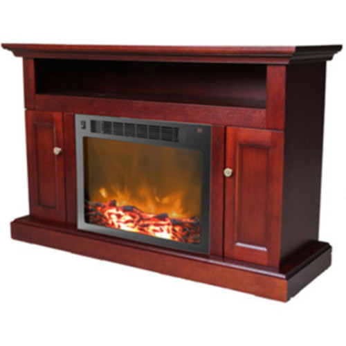 Cambridge Sorrento Mahogany Fireplace Mantel With Electronic Fireplace Insert