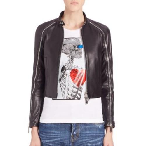 DSQUARED2 Ovine Leather Sleeve Zipper Jacket