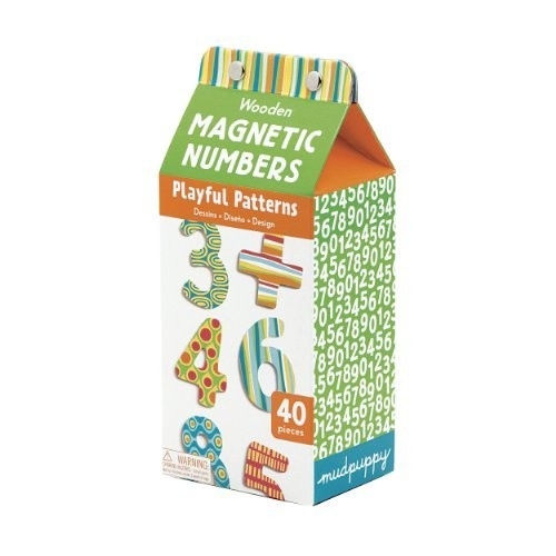 Mudpuppy Playful Patterns Wooden Magnetic Numbers Set  Practice Math Skills with 40 Colorful Wooden Numbers for Ages 3+