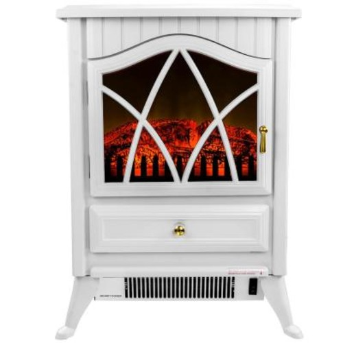 AKDY 16 in. Freestanding Electric Fireplace Stove Heater in White with Vintage Glass Door, Realistic Flame and Logs