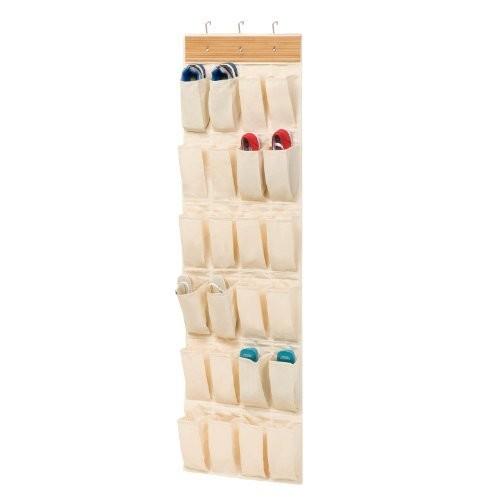 Honey-Can-Do SFT-01002 Over-the-Door Shoe Organizer, Bamboo/Canvas, 24-Pocket