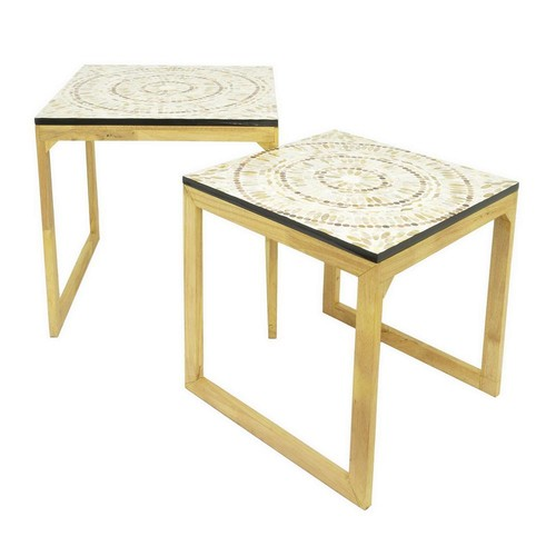 THREE HANDS 19.5 in. White Wood and Metal Mop Top Table (Set of 2)