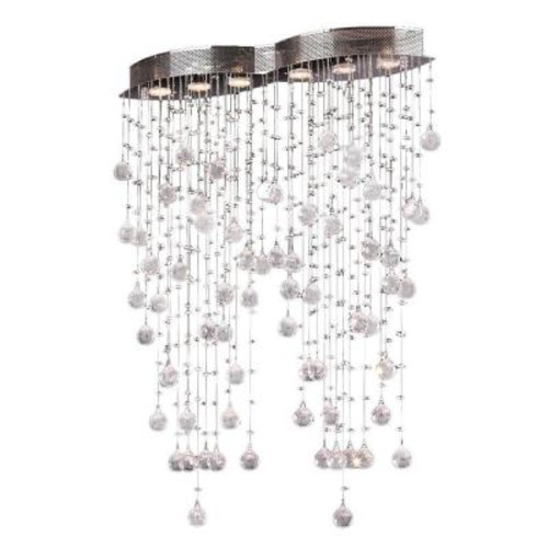 Worldwide Lighting Icicle 6-Light Chrome Flushmount with Clear Crystal