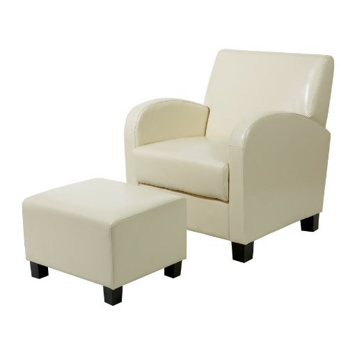 Office Star Metro Club Chair with Ottoman in Eco Leather, Cream [Cream]