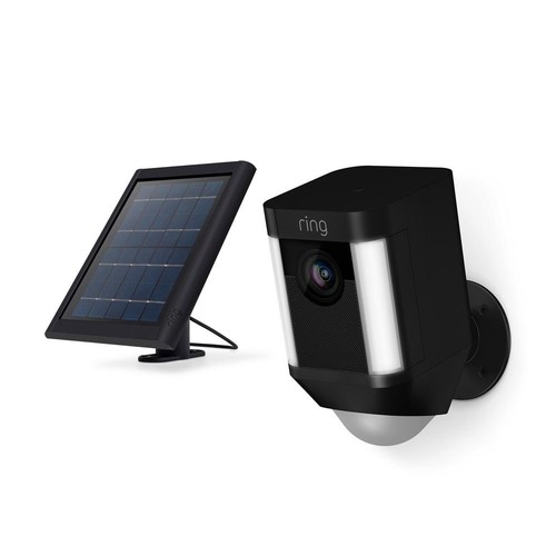 Ring Spotlight Cam Solar Wireless Outdoor Rectangle Security Camera, Black