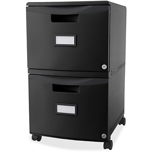 Storex 2-Drawer Locking Mobile Filing Cabinet - 15.5