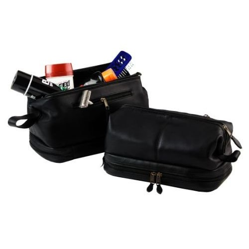 Toiletry Bag with Zippered Bottom Compartment [Black]