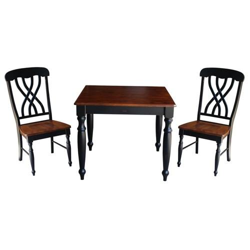 International Concepts Bridgeport 3-Piece Rubbed Black and Espresso Dining Set