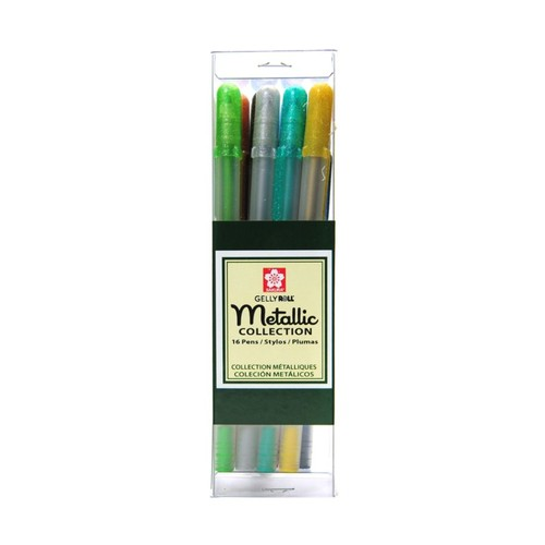 Sakura Gelly Roll Metallic Pens, Cube Collection, Assorted Colors, Set Of 16