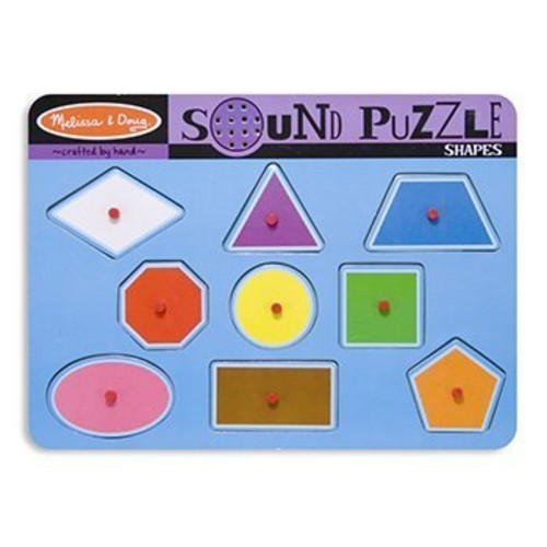 Melissa & Doug Shapes Sound Puzzle - Wooden Peg Puzzle With Sound Effects (9 pcs)