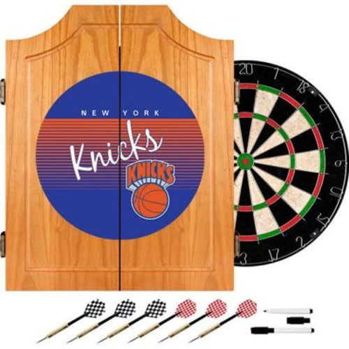 Trademark 20.5 in. New York Knicks Hardwood Classics NBA Wood Dart Cabinet Set