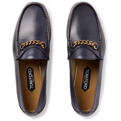 TOM FORD - York Chain-Trimmed Leather Loafers