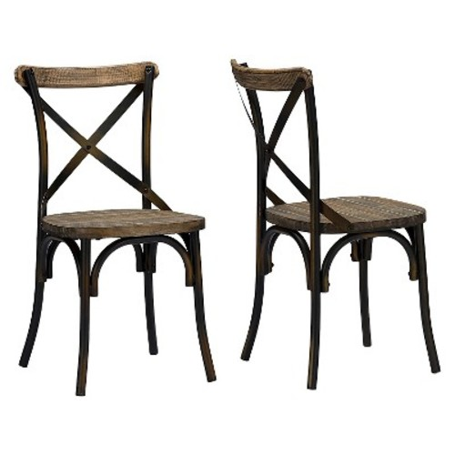 Konstanze Industrial Wood And Metal Dining Chair - Brown Walnut (Set Of 2) - Baxton Studio
