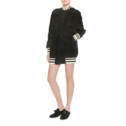 VALENTINO Butterfly-Embroidered Silk Bomber Jacker, Black