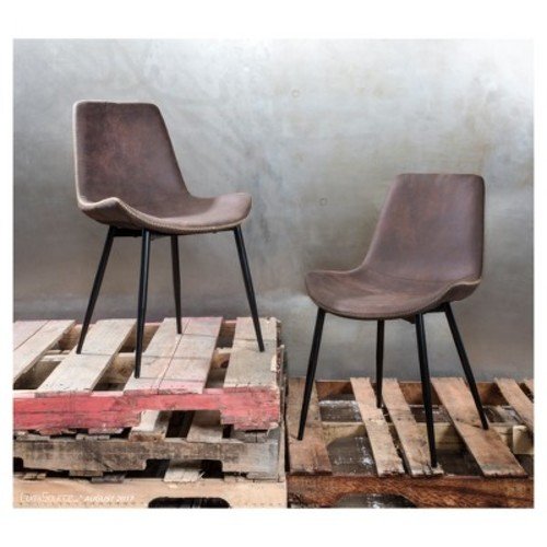 Duke Industrial Dining Chair - Black/Espresso (Set of 2) - Lumisource