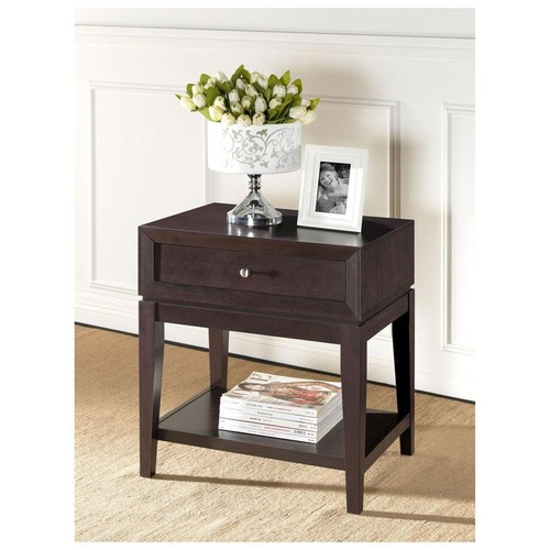Baxton Studios Morgan Brown Modern Accent Table and Nightstand - Four Leg Base - 1 Drawers - 4 Legs - 27.25