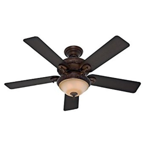 Hunter Fan Company 53029 Vernazza 52-Inch Ceiling Fan with Five Aged Barnwood/Rustic Lodge Blades and Light Kit, Brushed Cocoa [Brown]