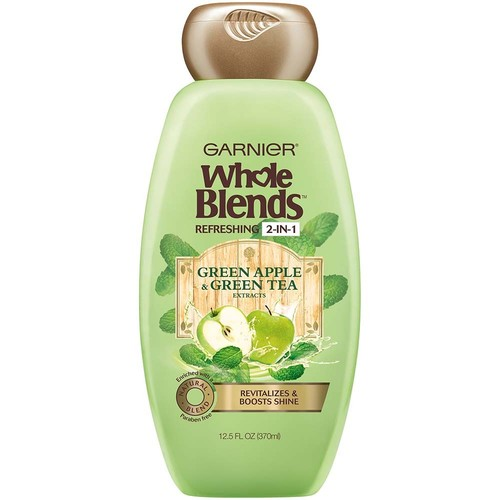 Garnier Whole Blends Green Apple & Green Tea Extracts Refreshing 2-in-1 Shampoo & Conditioner, 12.5 fl oz, 1 Count