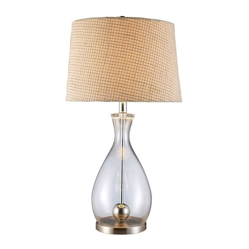 Titan Lighting Longport 27 in. Clear Glass and Chrome Table Lamp with Linen Shade