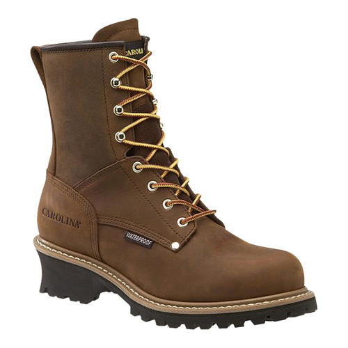 Carolina Waterproof Logger Boots  8in., Brown, [WIDTH : MEDIUM]