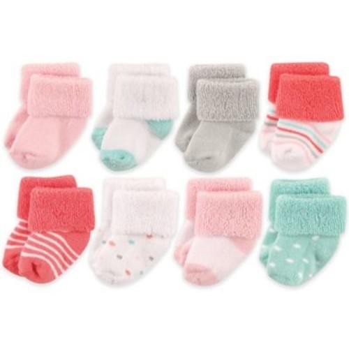 Luvable Friends Newborn 8-Pack Polka Dot Socks in Coral