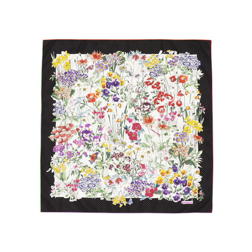 GUCCI Floral Field Silk Scarf, Black/White