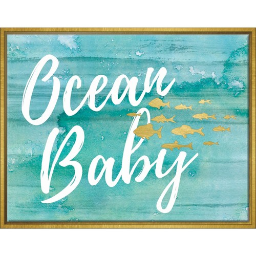 LINDEN AVENUE Ocean Baby Framed High Glow Canvas With Foil