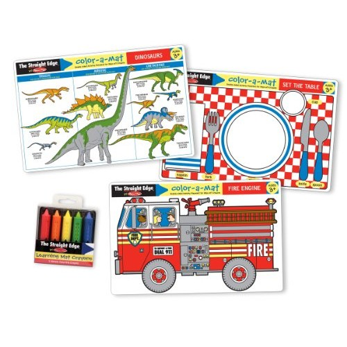Melissa & Doug Fun Themes Placemat Set: Set the Table, Fire Engine, Dinosaurs [Fun Themes Placemat Bundle]