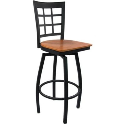 Advantage Window Pane Back Metal Swivel Bar Stool - Cherry Wood Seat (SBWPB-BFCW-2)