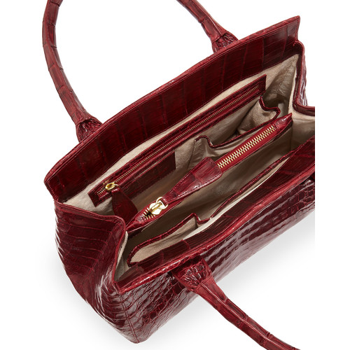 NANCY GONZALEZ Loop Crocodile Small Satchel Bag, Red Shiny