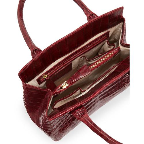 NANCY GONZALEZ Loop Crocodile Small Satchel Bag, Red Shiny