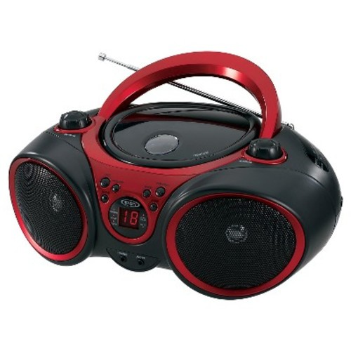 JENSEN Portable Stereo CD Player with AM/FM Stereo Radio - Black with Red Trim
