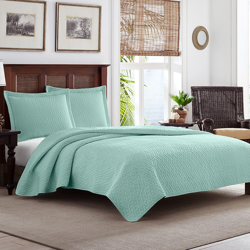 Tommy Bahama Solid Harbor Blue Quilt Set [Twin Quilt Set (Tommy Bahama Solid Harbor Blue)]