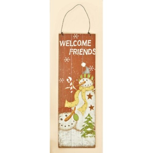 Worth Imports Wooden Welcome Friends Snowman Scene Wall Hanging