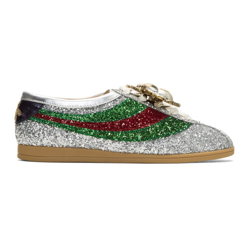 GUCCI Silver Sylvie Glitter Web Falacer Sneakers