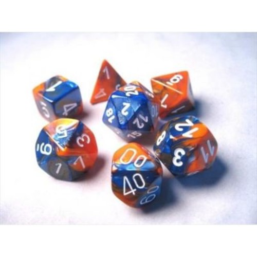 Chessex Manufacturing 26452 Cube Gemini Set Of 7 Dice - Blue & Orange With White Numbering( ACDD2051)