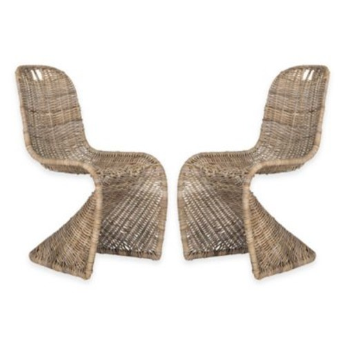 Safavieh Cilombo Wicker Dining Chairs in Natural (Set of 2)