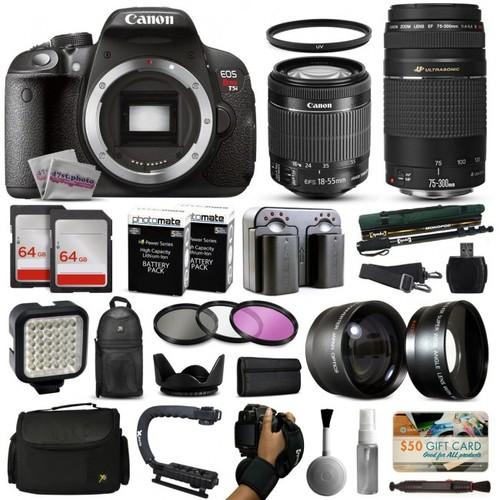 Canon T5i DSLR Camera w/ 18-55mm IS II + 75-300mm USM Lens + Premium 128GB Kit