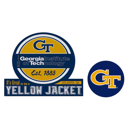 Georgia Tech Yellow Jackets Jumbo Tailgate & Mascot Peel & Stick Decal Set