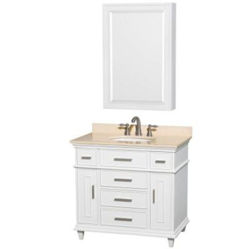 Wyndham Collection Berkeley 36 in. Vanity in White with Marble Vanity Top in Ivory, Undermount Round Sink and Medicine Cabinet