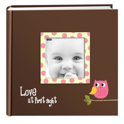 Pioneer Photo Albums Pink Baby Owl Raised Frame Cover Photo Album