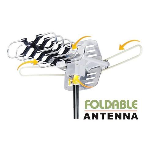 Amplified HD Digital Outdoor HDTV Antenna with Motorized 360 Degree Rotation, UHF/VHF/FM Radio