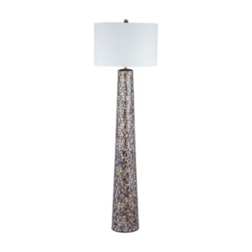 Byzantion Mosaic Floor Lamp in Bronze with Linen Shade