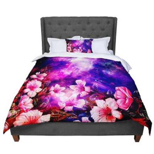East Urban Home Shirlei Patricia Muniz Space Flowers Comforter; Queen