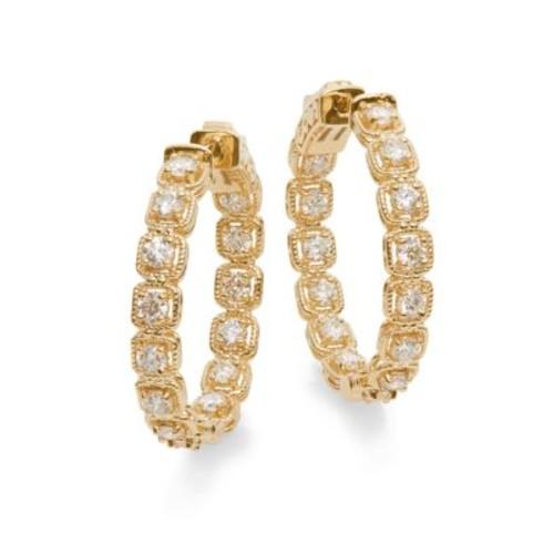 Saks Fifth Avenue - Diamond & 14K Yellow Gold Hoop Earrings
