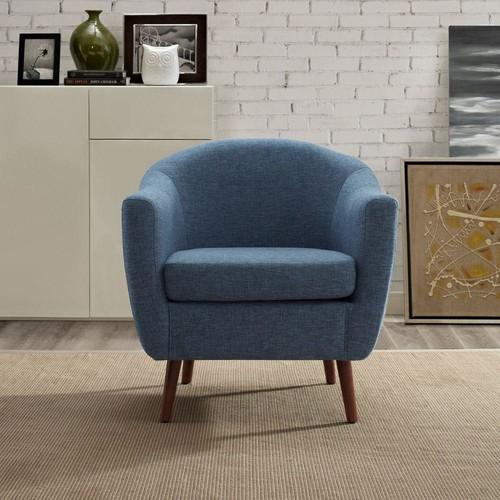 Simpli Home Roundstone Denim Blue Fabric Arm Chair